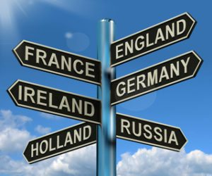 England France Germany Ireland Signpost Shows Europe Travel Tourism And Destinations